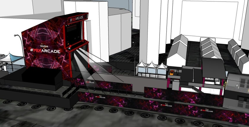 A rendering for the Doritos Mix Arcade installment that is coming to E3. It's a six-story, fully functioning retro arcade game that will combine technology, gaming and music.