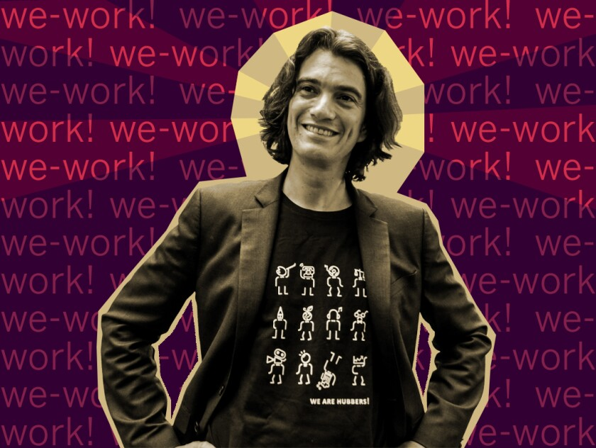 "Photo illustration of Adam Neumann against a text background with the chant ""we-work! we-work!"""