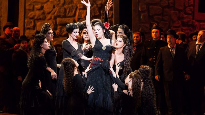"""A 2014 production of """"Carmen,"""" created by director-choreographer Rob Ashford, with Ana Maria Martinez in the title role, at Houston Grand Opera."""