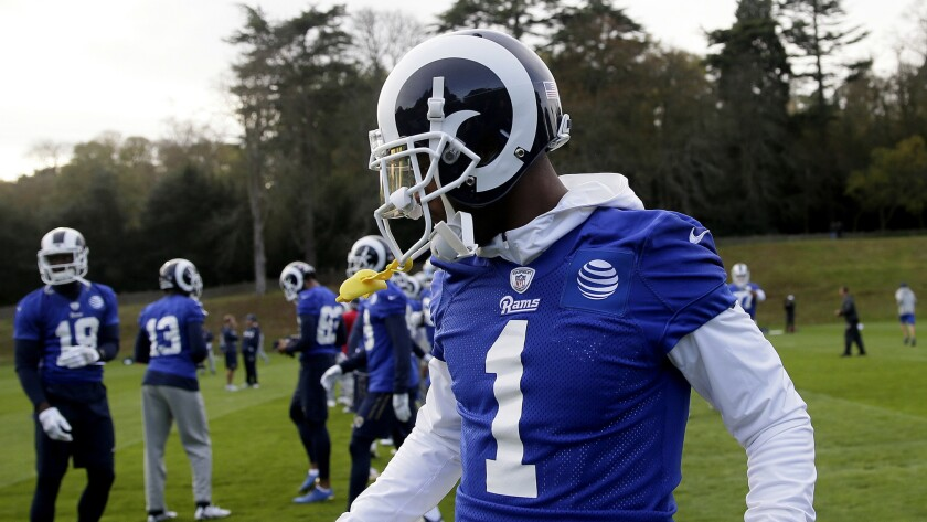 Los Angeles Rams' wide receiver Tavon Austin warms up during a training session at Pennyhill Park Ho
