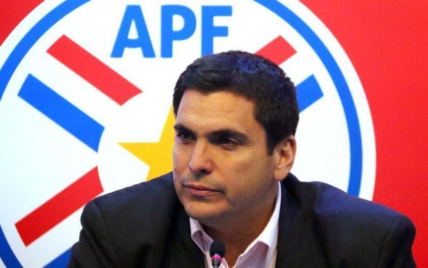 President of the Paraguayan Soccer Association(APF), Robert Harrison, at a press conference June 6 2018, in Asunción (Paraguay). EPA-EFE FILE/Andrés Cristaldo