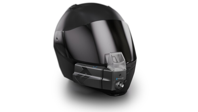 Nuviz heads up display attaches to certain styles of motorcycle helmets