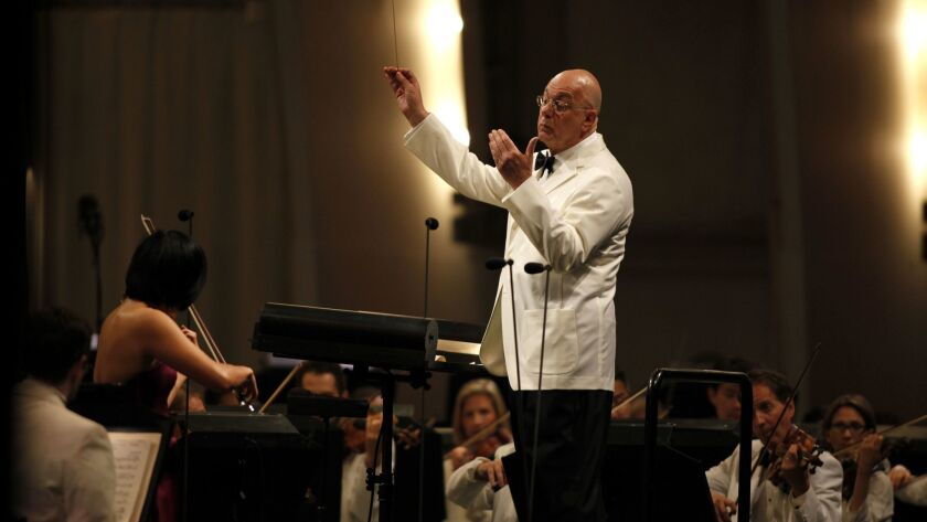 LOS ANGELES, CA-AUGUST 22, 2013: One of the finest minds in music, Leon Botstein, conducted the Los