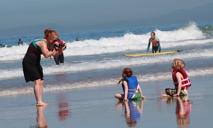 "Kids ""say cheese"" in La Jolla Shores"