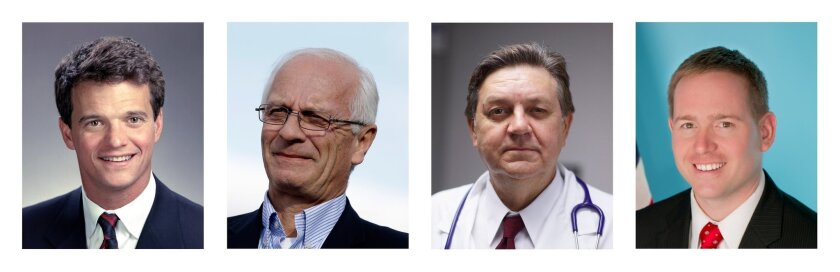 This combination made from undated campaign and staff photos shows Michigan Republican candidates for congress. From left: David Trott, who is challenging incumbent, U.S. Rep. Kerry Bentivolio; and incumbent U.S. Rep. Dan Benishek, who is being challenged by Alan Arcand. The candidates are locked in close races that will be closely watched in Tuesday's primary. (AP Photo)