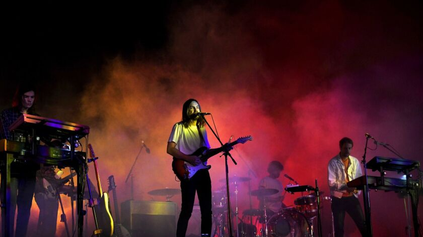 Tame Impala performs at the Coachella Music and Arts Festival.