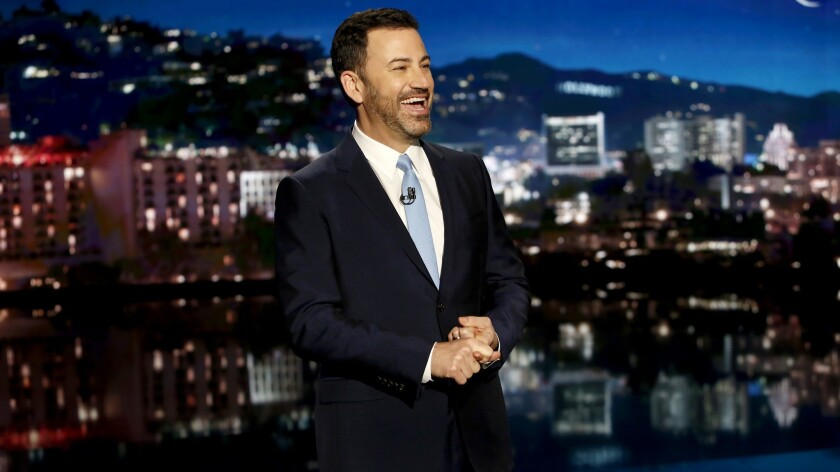 Jimmy Kimmel had plenty to say about Donald Trump's first visit to California as president.
