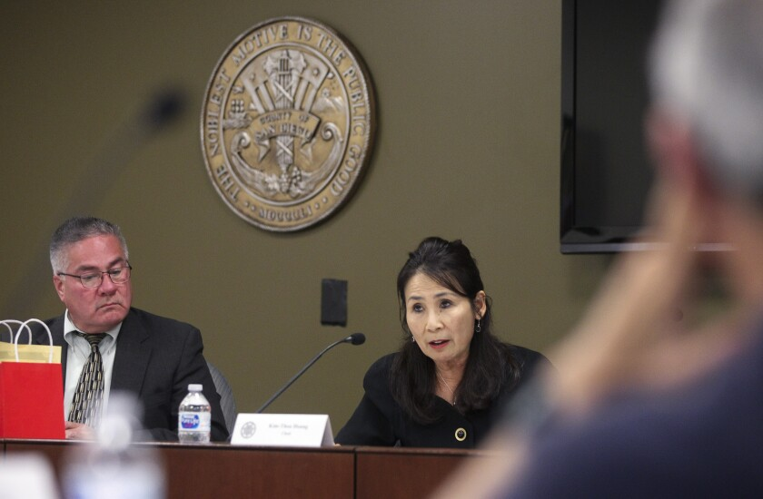 Board Chair Kim-Thoa Hoang spoke at a meeting of the County of San Diego Citizen's Law Enforcement Review Board last June
