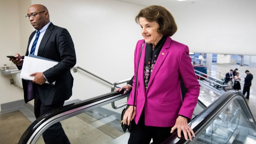 Sen. Dianne Feinstein, D-Calif. arrives in the Capitol on her way to the Senate Democrats' policy lunch on June 5, 2018.