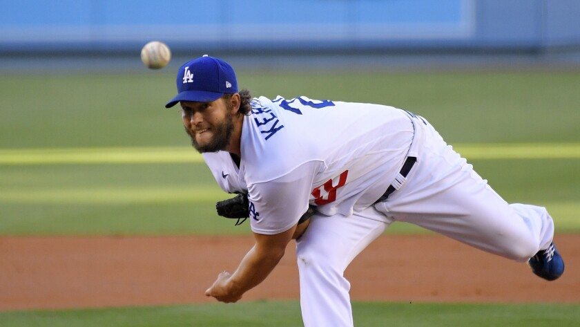 Dodgers starting pitcher Clayton Kershaw throws against the San Francisco Giants on Aug. 8.