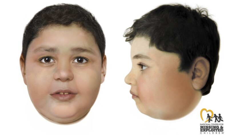 These artist's renderings created by the National Center for Missing and Exploited Children and distributed Thursday, June 3, 2021, by the FBI and Las Vegas Metropolitan Police Department depict a slain boy believed to be between the ages of 8 and 10 whose body was found Friday, May 28, 2021, off a hiking trail between Las Vegas and rural Pahrump, Nev. Authorities offered a $10,000 reward to identify the child. They say he was 4-foot-11, was heavy for his age at 123 pounds, and had a gap in his front teeth. They say his death was clearly a homicide. (Las Vegas Metropolitan Police Department via AP)