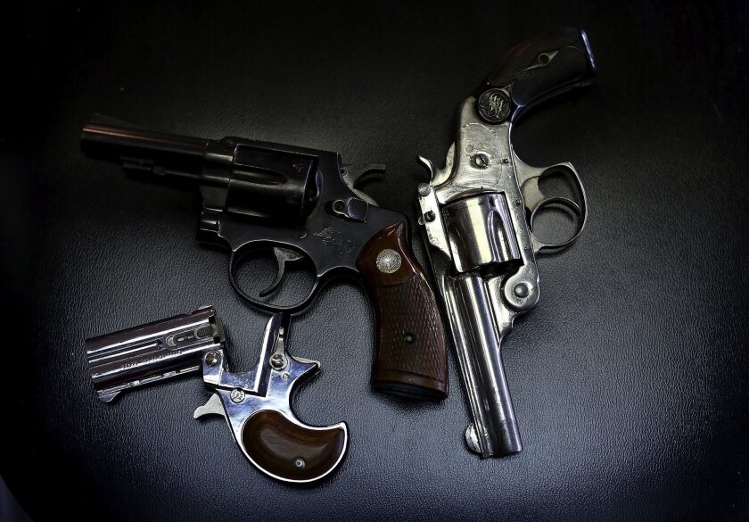 Pistols turned in during a gun buy-back program in Dallas.