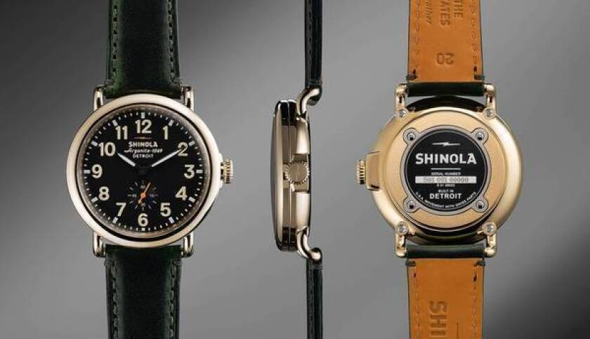 """The Shinola shoeshine brand is now applied to other products. Watches are proudly labeled """"Built in Detroit."""""""