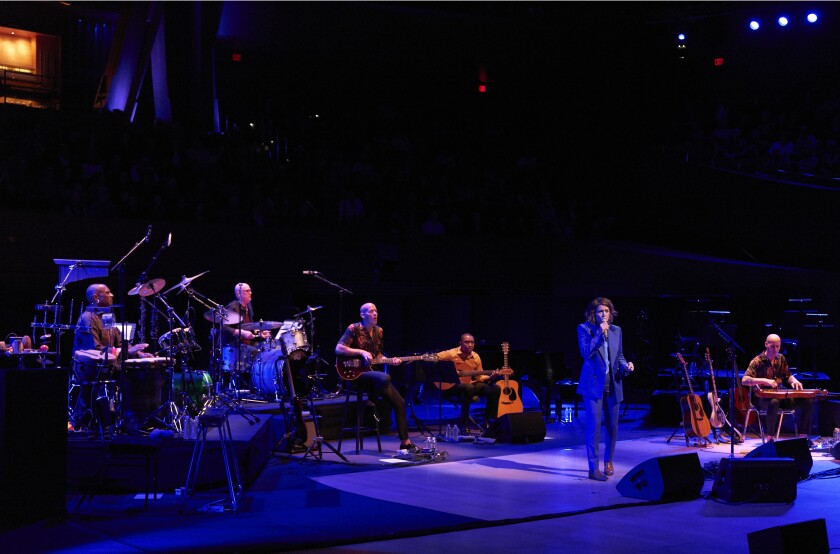 "Brandi Carlile and band performed Joni Mitchell's ""Blue"" at Walt Disney Concert Hall, as Mitchell looked on from the audience."