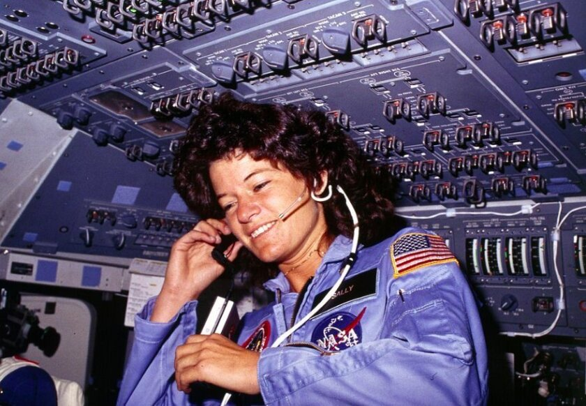 Sally Ride aboard the space shuttle Challenger in 1983.