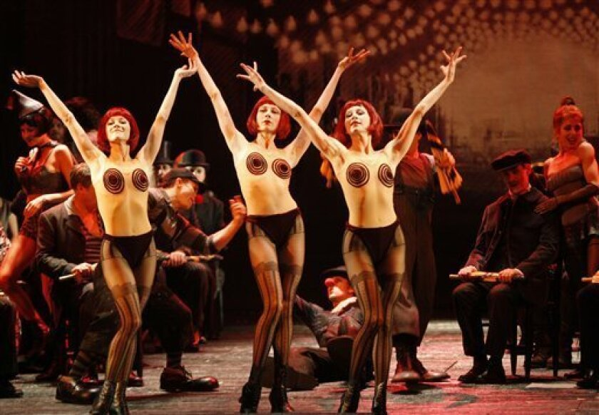 """Scantily clad dancers perform a scene from Act I during an open dress rehearsal for the Metropolitan Opera's production of """"Les Contes d'Hoffmann"""" (Tales of Hoffmann) in New York, Monday, Nov. 30, 2009. (AP Photo/Kathy Willens)"""