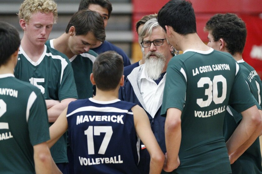 """La Costa Canyon coach Mark Brubaker (shown during a match last season) said the Mavericks had to """"grind it out"""" against rival Carlsbad."""