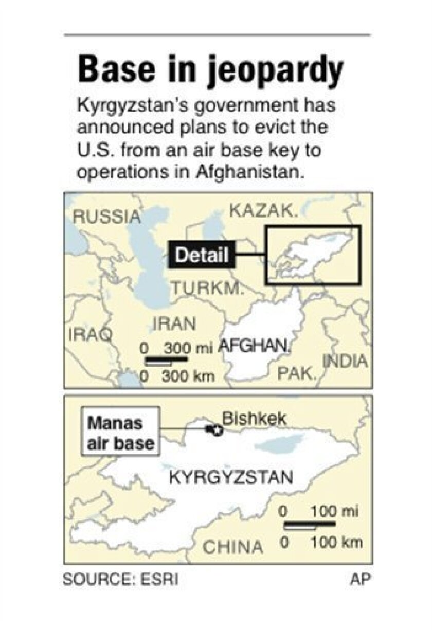 Map locates U.S. air base in Kyrgyzstan; 1 c x 3 1/2 in; 46.5 mm x 88.9 mm