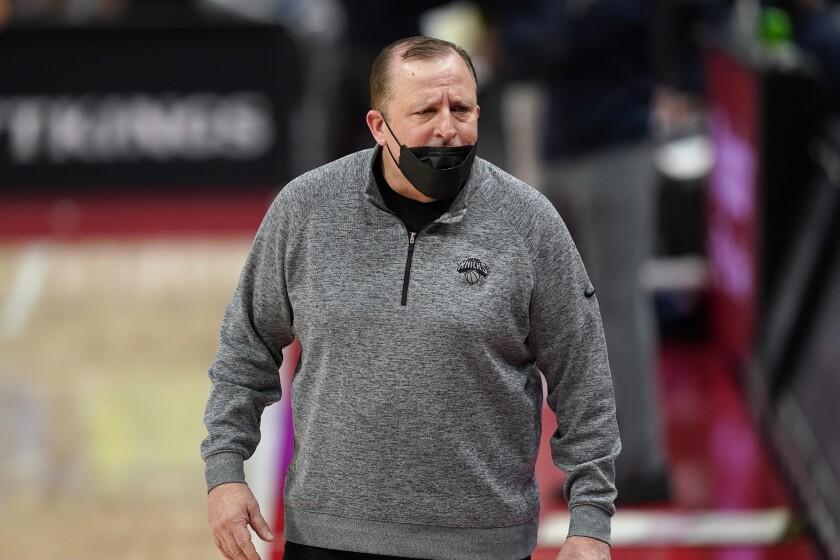New York Knicks head coach Tom Thibodeau walks the sideline.
