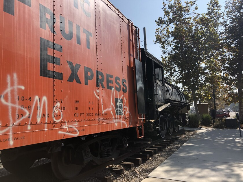 Train cars outside the La Mesa Depot on Nebo Drive were hit by taggers late Friday or early Saturday, according to La Mesa police. Spray-painted symbols were left on the side of all three cars displayed at the museum.