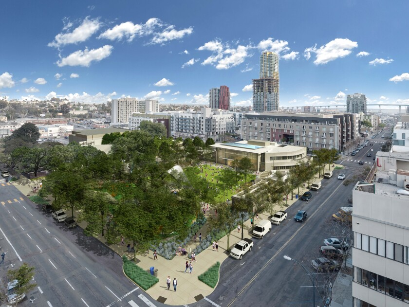 Artist rendering of the four-acre East Village Green park, as seen from the corner of 13th and F streets downtown