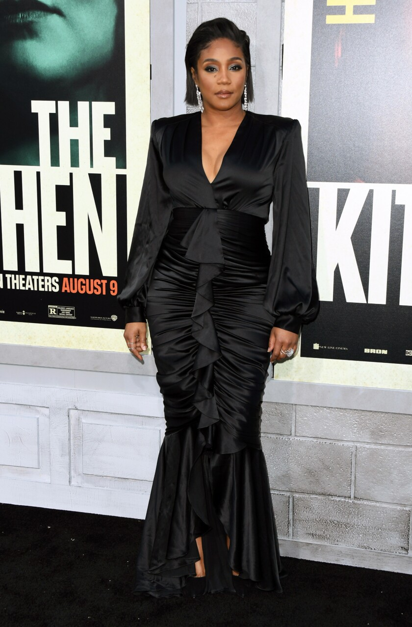 "Tiffany Haddish in a Galia Lahav dress at the premiere of ""The Kitchen"" in Hollywood."