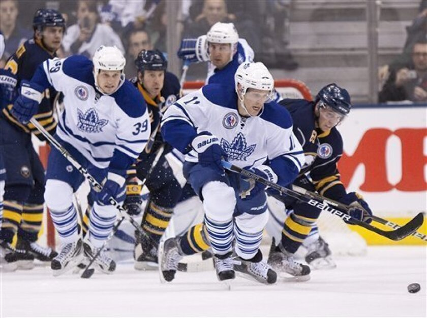 Toronto Maple Leafs' Fredrik Sjostrom brings the puck out of the Maple Leafs' zone after a Buffalo Sabres attack during the second period of an NHL hockey game in Toronto on Saturday, Nov. 6, 2010. (AP Photo/The Canadian Press, Chris Young)