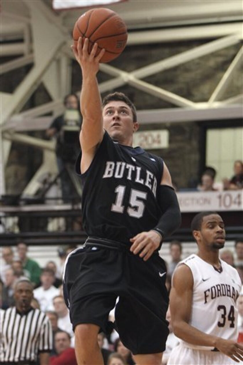Butler's Rotnei Clarke shoots during the second half of an NCAA college basketball game against Fordham, Saturday, Feb. 16, 2013 in New York. Butler won 68-63. (AP Photo/Mary Altaffer)