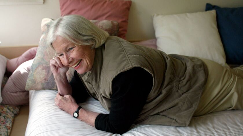 """A retired and divorced schoolteacher, Jane Juska -- seen here in her Berkeley home in 2003 -- wrote """"A Round-Heeled Woman: My Late-Life Adventures in Sex and Romance"""" based on her experiences after placing a personal ad."""