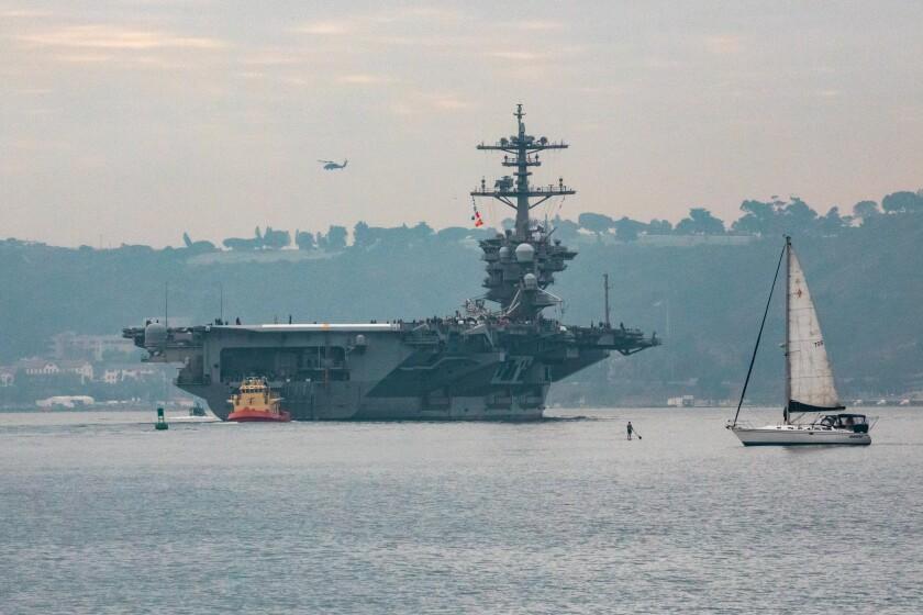The USS Theodore Roosevelt leaves San Diego Harbor.