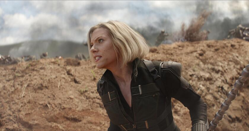 "Scarlett Johansson as Black Widow in ""Avengers: Infinity War."""