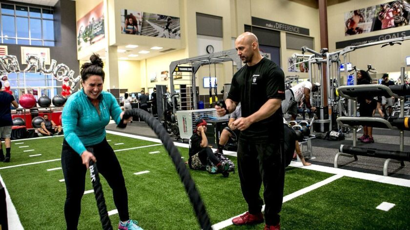 A newly opened 24 Hour Fitness facility in Torrance offers a turf-covered area for intense athletic training.