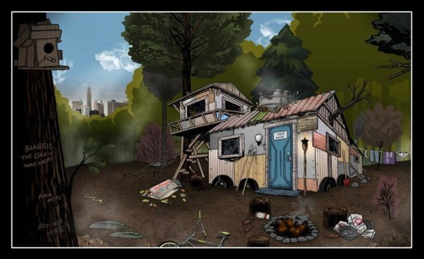 """The concept art for the kids' ramshackle DIY house in """"The Kings of Summer"""" shows a second-story sleeping loft and a front entry made from the door of a portable toilet. Click to the gallery to see what the production crew ultimately built for the movie."""