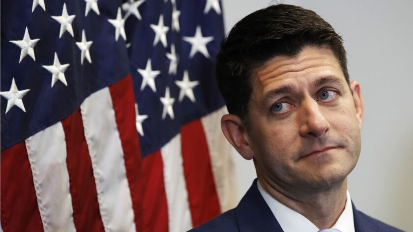 House Speaker Paul D. Ryan attends a news conference earlier this week on Capitol Hill.