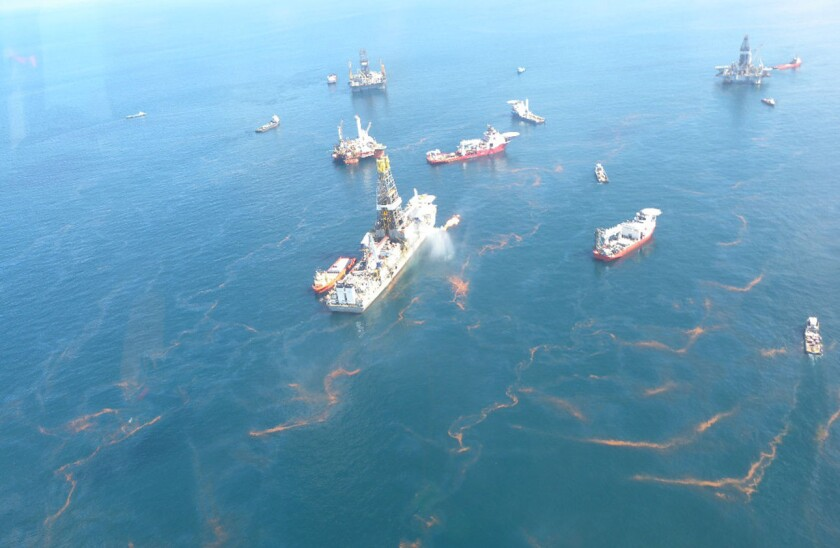 Oil streaks the surface of the Gulf of Mexico after the Deepwater Horizon rig explosion in 2010.