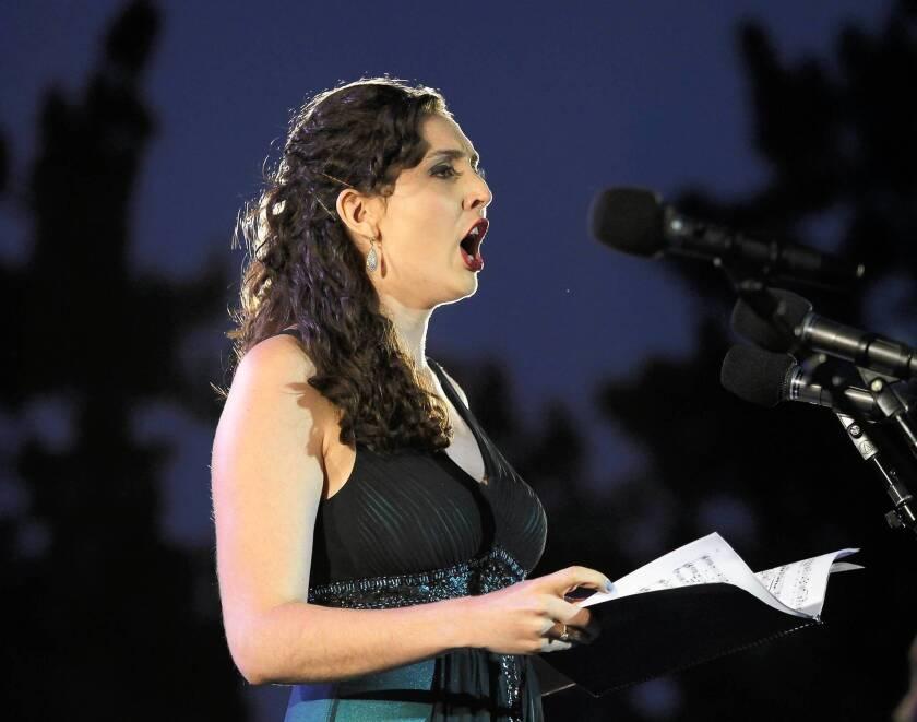 "Soprano Clarissa Lyons peforms ""A Julia de Burgos"" during SongFest's Leonard Bernstein program for Grand Peformances at California Plaza on Saturday."