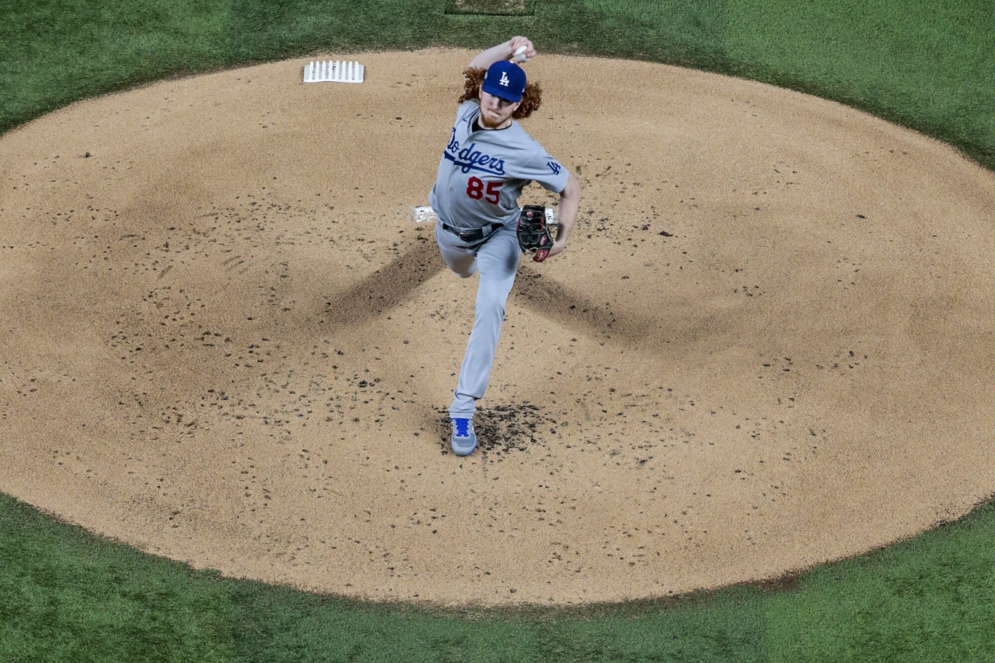 Dodgers starting pitcher Dustin May delivers during the first inning of Game 5.