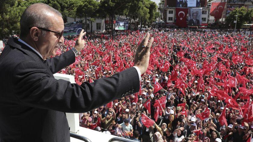 Turkish President Recep Tayyip Erdogan addresses his supporters in Ordu, Turkey, on Saturday.