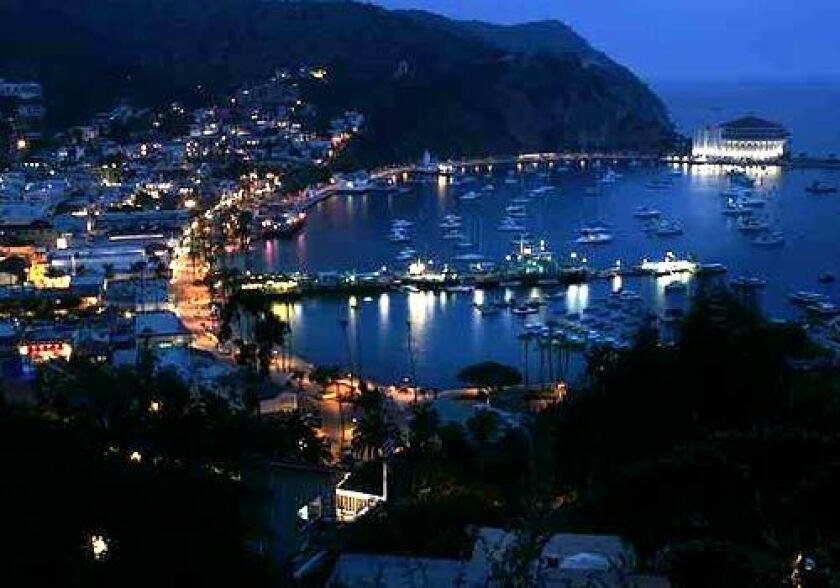Avalon, Catalina Island's main town, hugs the coast.