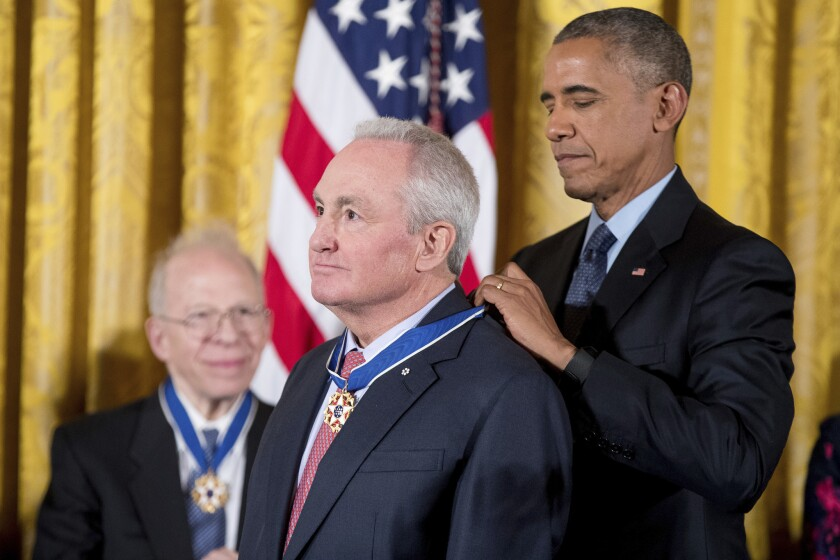 """Saturday Night Live"" producer and screenwriter Lorne Michaels is given a Presidential Medal of Freedom by President Obama."
