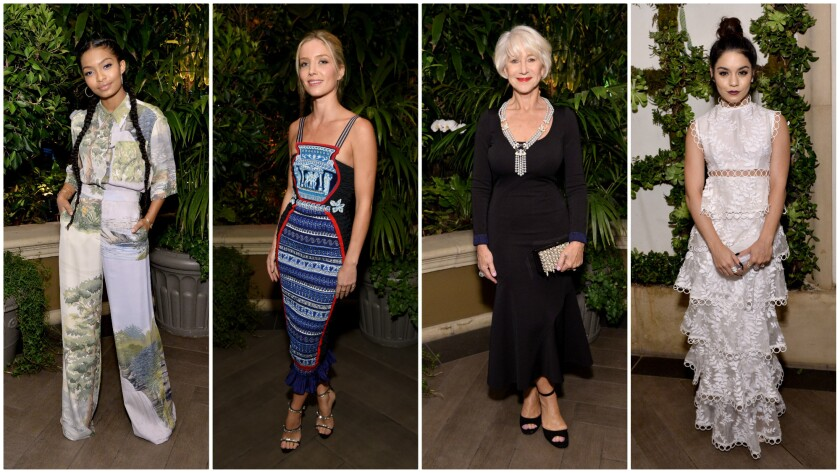 Yara Shahidi, from left, Annabelle Wallis, honoree Helen Mirren and Vanessa Hudgens at the Elle Women In Hollywood Awards on Monday evening.