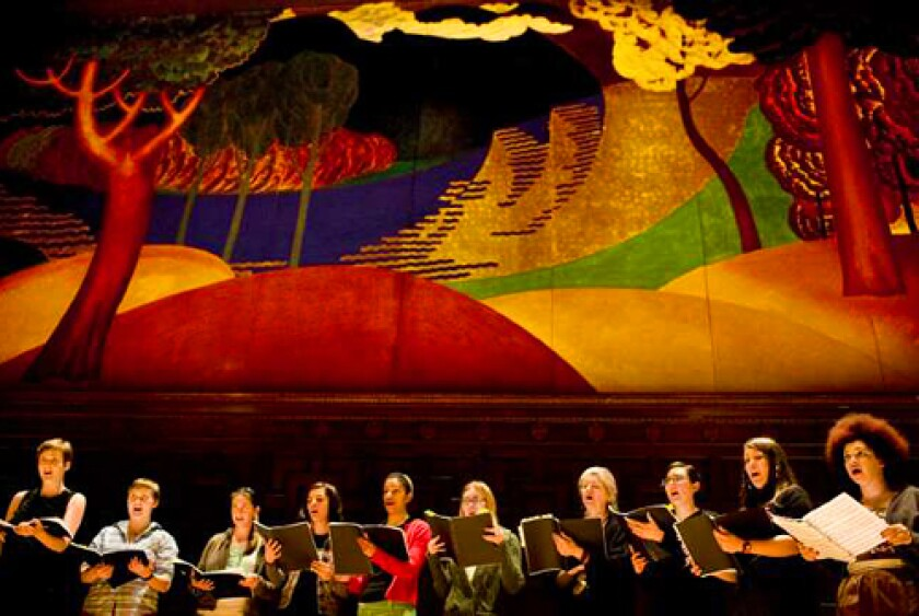 ALL TOGETHER: A chorus sings in the newly renovated Jeannik Mequet Littlefield Concert Hall at Mills College.