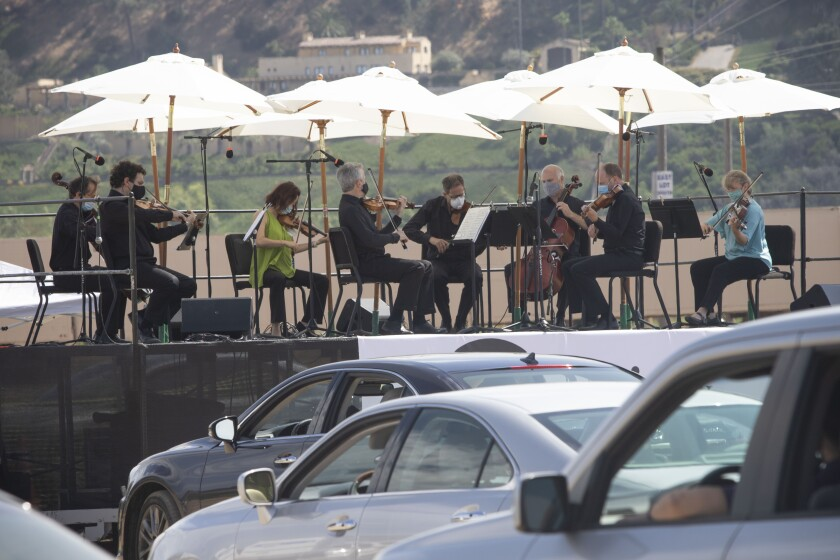 Mainly Mozart presented a live outdoor classical music concert Saturday, July 11, in an empty lot in Del Mar.