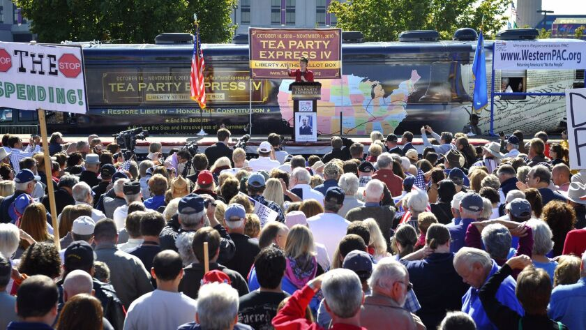 Former Alaska governor Sarah Palin speaks to a crowd during the kickoff of the nationwide Tea Party Express bus tour in Reno, Nev. on Oct. 18, 2010.