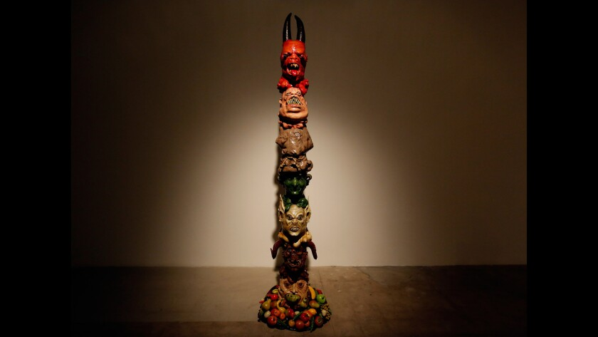 """Monster Totem,"" 2016, by Marnie Weber, made from the costumes she employed in her feature film."
