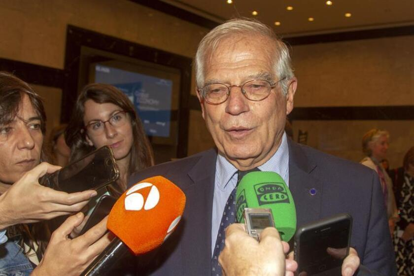 Spanish Foreign Minister Josep Borrell adresses the media after the closure of the economic forum 'Latin America, Spain and the United States in the global economy', organized by the Chamber of Commerce Spain-USA and the Spanish newspaper El Pais, in New York, United States, 21 September 2018. EFE/File