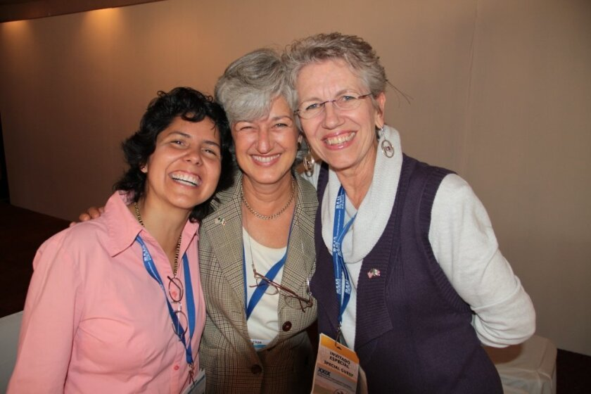 Honorees celebrate their award for cross-border collaboration received at the Border Governors Conference in Ensenada. From left, Margarita Diaz, director of Tijuana-based PFEA, Laura Silvan, board chair of PFEA and Doretta Winkelman of San Diego-based PROBEA.