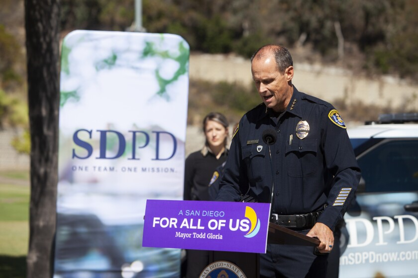 San Diego Police Chief David Nisleit speaks at a press conference about an upcoming hiring expo.