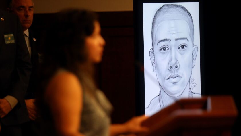 Alejandra Johnson, left, sister of the Edward Berber, appears with a sketch of a person of interest in the 2005 case.