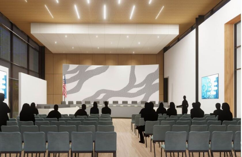 A rendering of the new board room at the proposed SDUHSD district office.